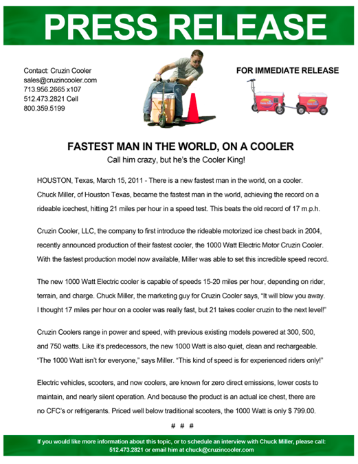 World's Fastest Man on a Cooler - Press Release Design - ©CHUCK MILLER Media.com