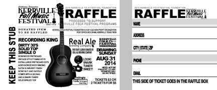 Kerrville Music Festival - Raffle Ticket Design - ©CHUCK MILLER Media.com